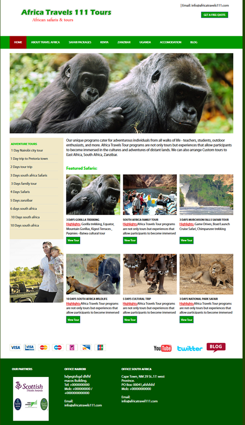 free travel and tours HTML website template